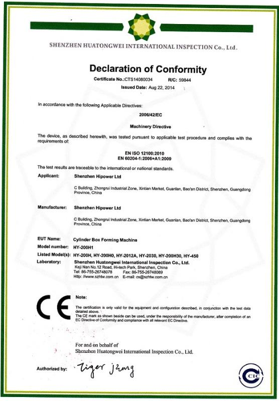 CE Certificates of Shenzhen Hipower Ltd